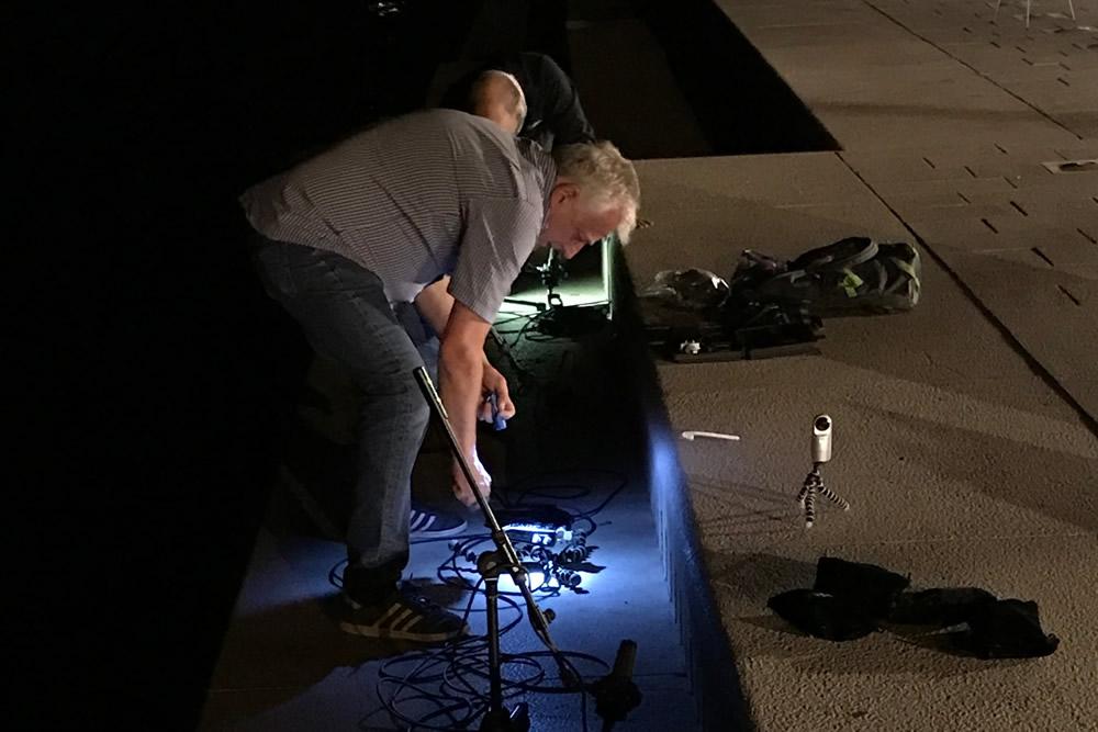 Recording sea organ by night